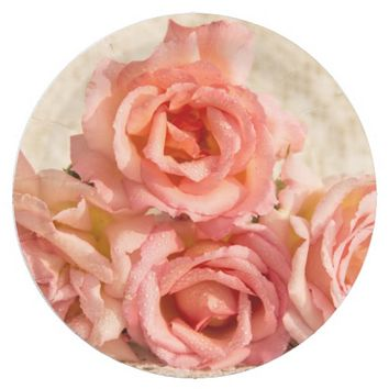 Pink roses on lace 9 inch paper plate