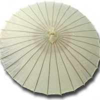 Medium Sized Chinese Cloth & Bamboo Parasol in Ivory