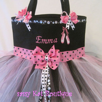 Personalized dance bag-pink/black polka dots