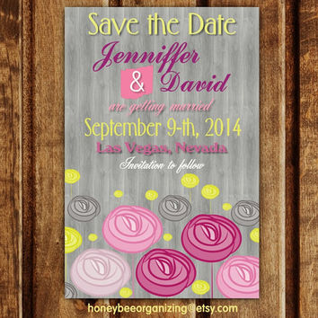 Printable Wedding Save the Date Invitation - Printable Save the Date - Pink Save the Date - Digital Save the Date - DIY Save the Date