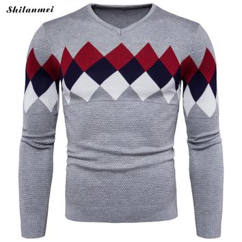 New Arrival Winter Sweater Men V-Neck Geometric Pattern Sueter Hombre Casual Slim Fit Knitted Pullover Tricot Blusas Sweater Men