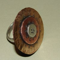Bronze copper and silver ring handmade in a carnival of metals