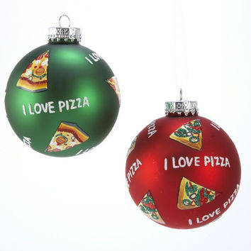 "2 - 3.25 ""  Ball Ornaments -  "" I Love Pizza """