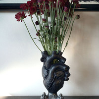 Anatomical Heart Vase, Black Finish