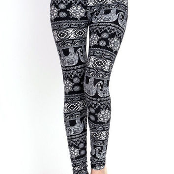 Exotic Elephant Printed Leggings