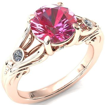 Aerolynn Round Pink Sapphire 4 Prong Diamond Accent Engagement Ring