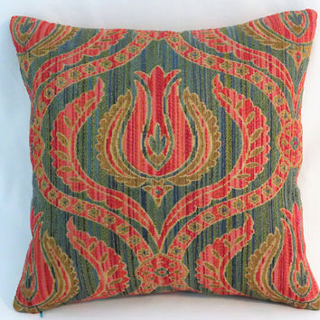 "Orange & Turquoise Tapestry Pillow, Chenille 17"" Square, Floral Medallion Ogee w/ Blue Green Red Gold, Zipper Cover Only Or Insert Included"