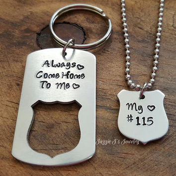always come home to me police badge keychain necklace set gift for him hand stampe