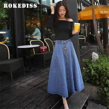 DK7G2 Fashion Winter Long Skirt Women Casual Denim Skirt Women's Clothing College Style High Waist A-Line Umbrella Maxi Skirt TG208