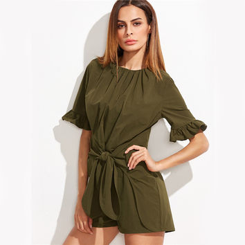 Olive Green Tie Front Half Ruffle Sleeve Jumpsuit