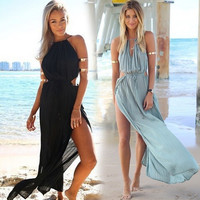 New Arrival Fashion Women Beach Dress Sexy Summer Chiffon Long Dresses Cardigan Beach Bikini Cover up Holiday Beachwear XA0055 salebags
