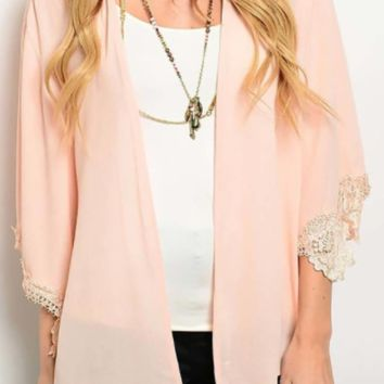 Pink Solid Lace Trim Cardigan