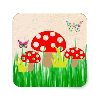 Mushrooms Square Sticker