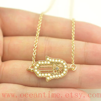 Hamsa Hand necklace,gold hamsa hand necklace,lucky necklace,lucky necklace,friendship gift,oceantime
