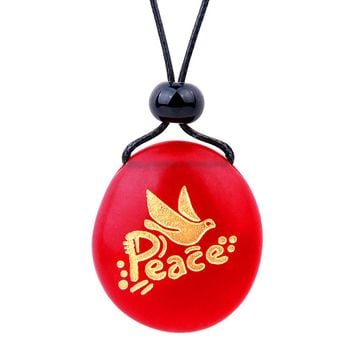 Amulet Frosted Sea Glass Stone Adorable Dove Peace Pigeon Good Luck Powers Royal Red Adjustable Necklace