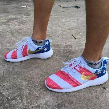 ICIK03T Nike roshe run American Flag Men&Women Running Shoes