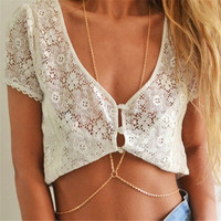 Ocean Jewelry Fashion Women Sexy Gold Body Chain Beach Jewelry Crossover Sexy Bikini Waist Belly Chain Boho Beach Body Jewelry