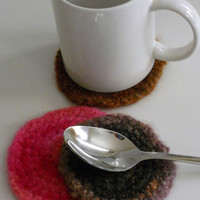 Set of Crocheted Felted Round Coasters