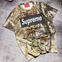 Supreme New Trending Women Men Stylish Camouflage Print Short Sleeve Round Collar Couple T-Shirt Pullover Top I13385-1