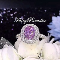 Fancy Pink Oval Double Halo Engagement Ring/ Art Deco Promise Ring, Anniversary Bridal Gift for her, 3 ct pink man made diamond center stone