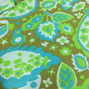 Vintage Retro Fabric Scrap By The Yard Green Blue Brown Paisley Flower Pattern