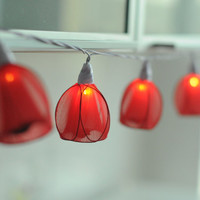 Handmade Red tulip flower flora string light home party decoration wedding decor hanging lantern