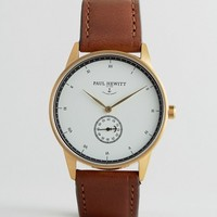Paul Hewitt Signature Leather Watch In Brown 38mm at asos.com