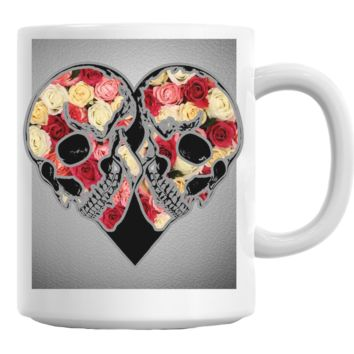 Floral Skull Heart Coffee Mug Cup 11 Oz