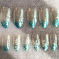 Holiday Sparkle Snowflake Nails * Faux Nails * Press On Nails * Frozen * Elsa * Glitter * Stamped Snowflakes * Clear Nails * Stiletto Nails