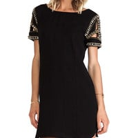 ba&sh Calpton Embellished Sleeve Dress in Black