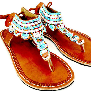 e5fccc84f7f7 Blue Maasai sandals beaded fair trade Kenya women s shoes handmade leather  summer fashion hipster hippie bohemian