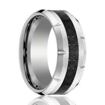 Aydins Mens Tungsten Wedding Band w/ Carbon Fiber Inlay & Multiple Grooved Edges 10mm Tungsten Carbide Ring