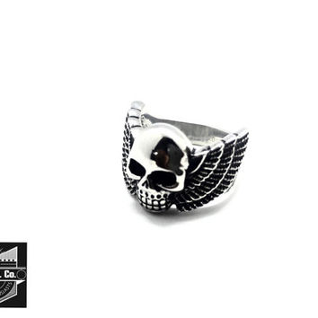 Women's Stainless Steel Ring with Skull and Wings - Size 8