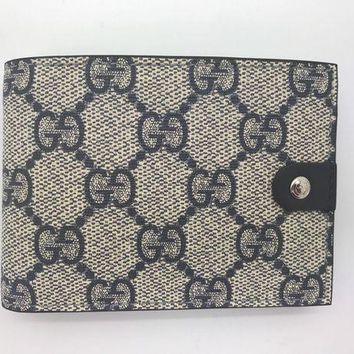 DCCKIN2 Authentic Gucci GG supreme canvas beige/ebony leather bifold mens wallet
