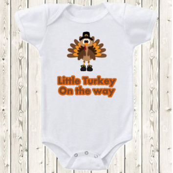 Thanksgiving Pregnancy Announcement Idea Onesuit ® brand bodysuit or shirt Little turkey, fall pregnancy reveal, new baby one the way, unique