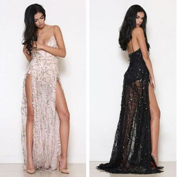 709cf662ac Fashion Perspective Gauze Embroidery Sequin Deep V Backless Spli