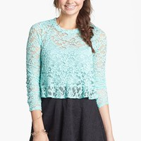 Lily White Lace Peplum Crop Top (Juniors) (Online Only) | Nordstrom