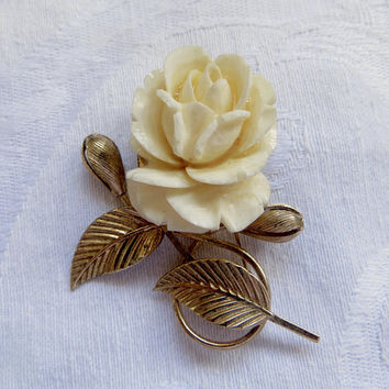 Vintage Celluloid Rose Brooch, Floral Rose Pin, Rose Jewelry, Nature Jewelry