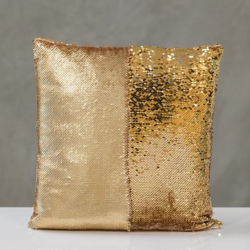 "16""x16"" Reversible Sequin Pillow - Champagne/Gold"