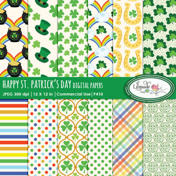 St Patrick's Day paper, st patricks day paper, digital paper, horseshoe, shamrock, rainbow clipart, leprechaun, clover,lucky Irish clipart,