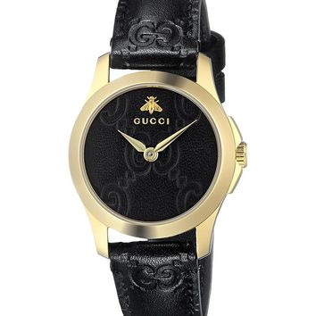 Gucci Quartz Gold-Tone and Leather Casual Black Women's Watch(Model: YA126581)