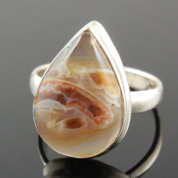 Tube Agate Sterling Silver Ring - Size 8.25