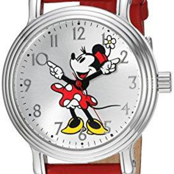 Disney Minnie Mouse Womens Silver Vintage Alloy Watch Red Leather Strap W002760