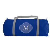 Blue Personalized Quatrefoil Monogram Gym Duffel Bag