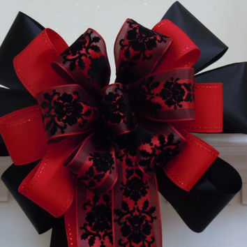 "10"" Black Red Damask Wedding Pew Bow Church Aisle Bow Wedding Chair Bow Halloween Wedding Bow Party Decorative Bow"
