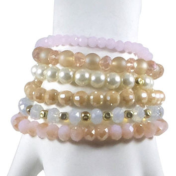 Stretch Bracelet Set of 6 Individual Handcrafted Glass Beads with Tassel (Ivory/Pink)