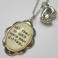 "The Lord of The Rings: ""All that is gold does not glitter"" with hobbit feet charm pendant necklace"