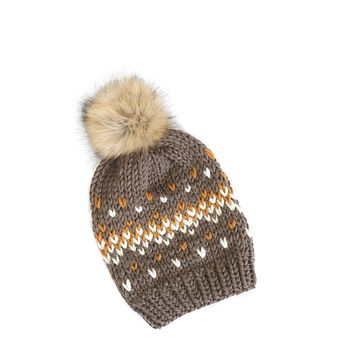 Knit Beanie Hat with Faux Fur Pom - Fair Isle Taupe Brown Hat