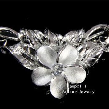 STERLING SILVER 925 HAWAIIAN 12MM PLUMERIA FLOWER MAILE LEAVES SLIDE PENDANT CZ
