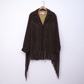 Vintage Suede Fringe Jacket Size 40 Chocolate Brown by Pioneer Wear in Albuquerque USA for Sheplers of Witchita